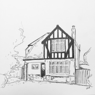 House illustration in black and white