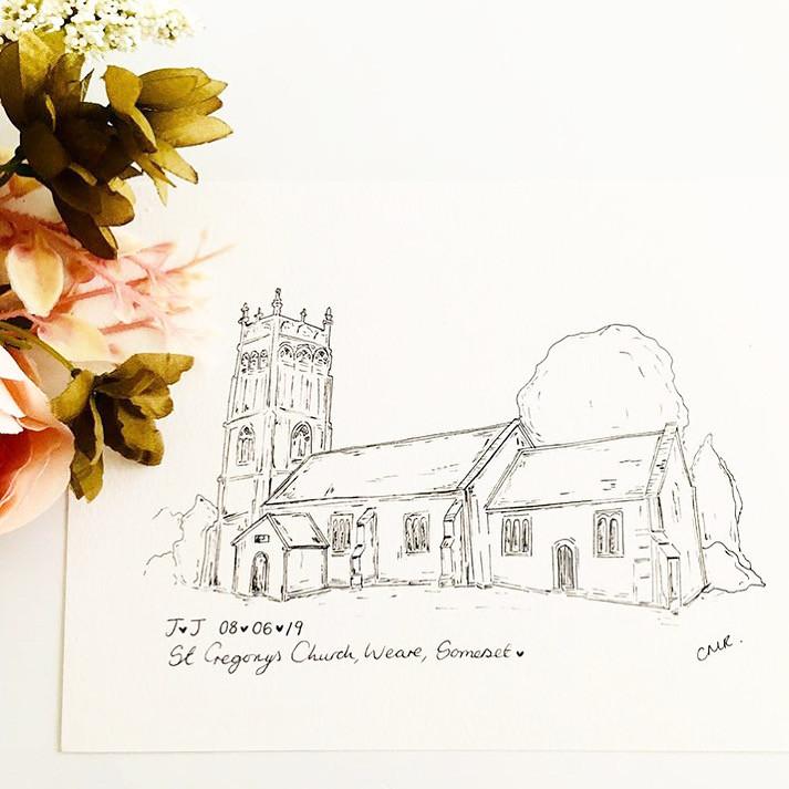 Wedding illustration in black and white