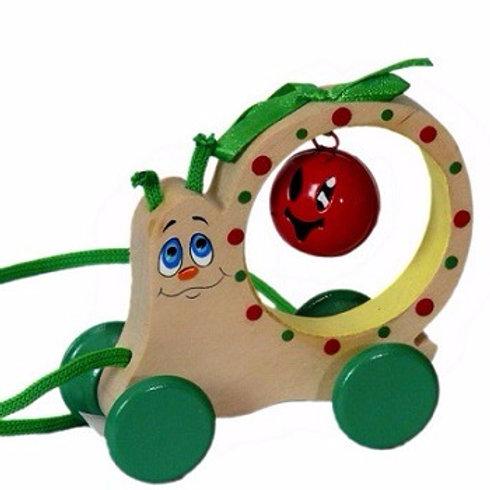 """Деревянная игрушка - каталка """"Улитка-бубенчик"""""""
