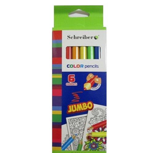 Карандаши пластиковые jumbo 6 цветов Schreiber
