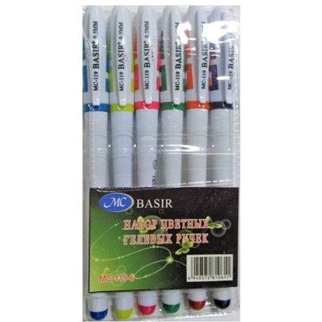 Набор гелевых ручек 6 цветов BASIR