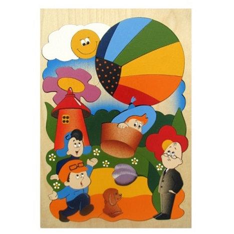 """Деревянная мозаика """"Незнайка на воздушном шаре"""""""