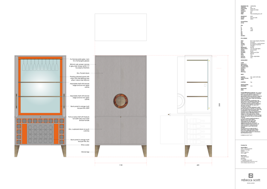 Bespoke drinks cabinet drawing
