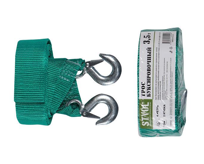 Трос буксировочный лента STVOL, 3,5 т., 2 крюка, 4 метра