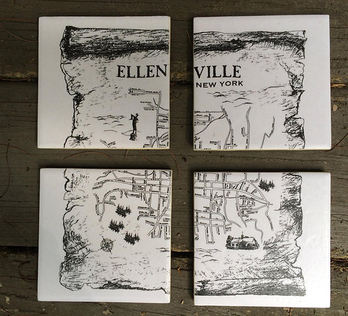 Map of Ellenville Coasters (Set of 4)
