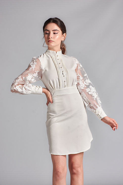 Kol Güpür Desen Elbise - 125 B