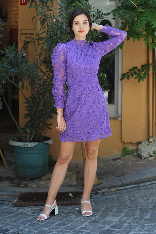 Kadın Mor Güpür Detay Mini Elbise - 58 M