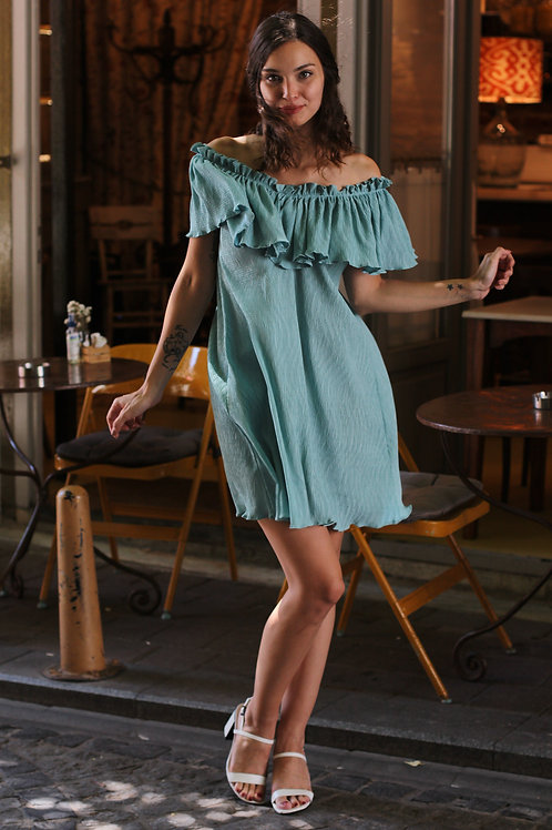 Yaka Volanlı Mini Krinkıl Elbise Hb0100