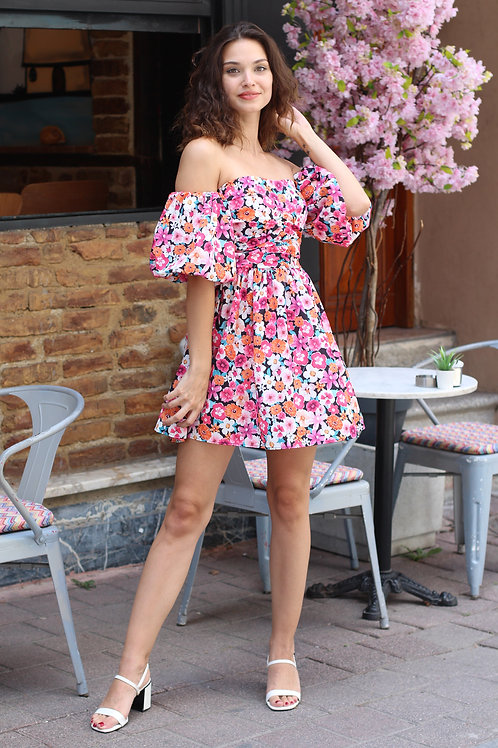 Pembe Çiçekli Straplez Kol Mini Elbise Hb0103