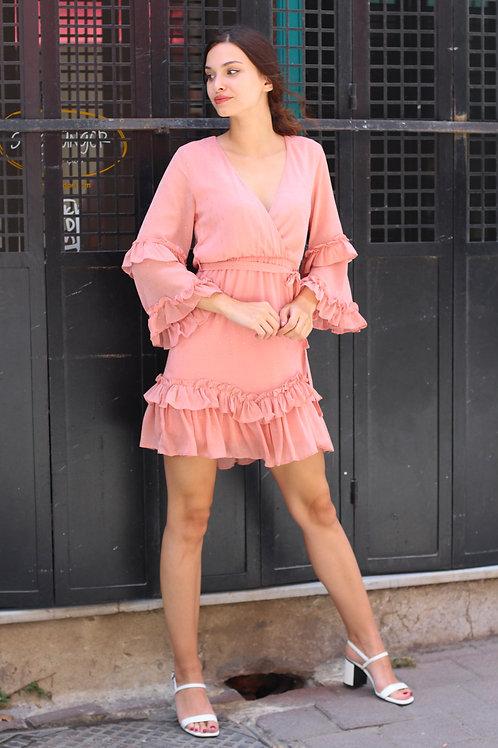 V Yaka Fırfır Detay Kuşaklı Tasarım Mini Elbise 99