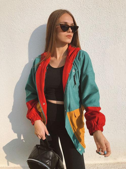 Cep Detaylı Renkli Ceket