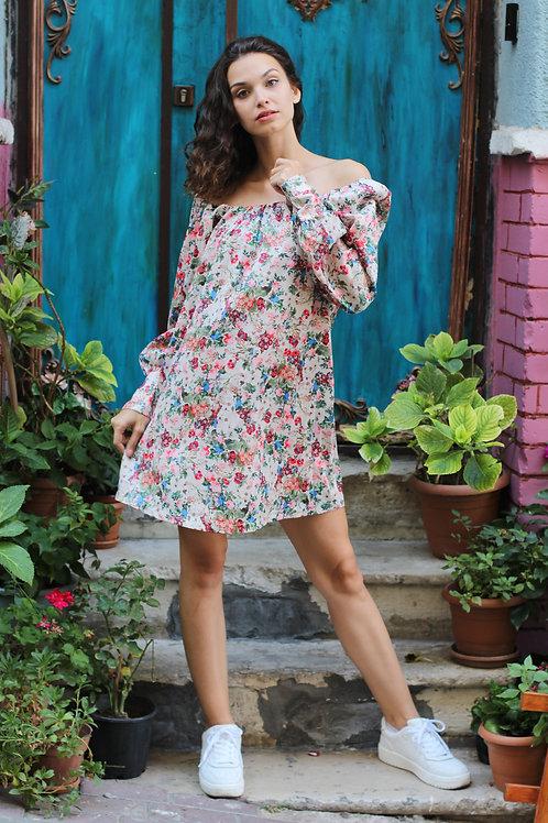 Çiçek Desen Yaka Lastikli Uzun Kol Elbise Hb0097