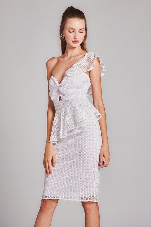 Kadın Beyaz Dantel Omuz Detay Mini Elbise - 133