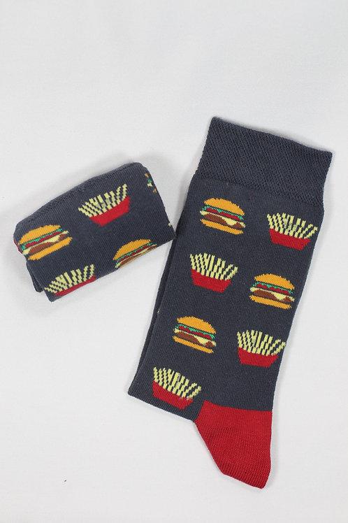 Unisex Siyah Hamburger Fast Food Çorap C129