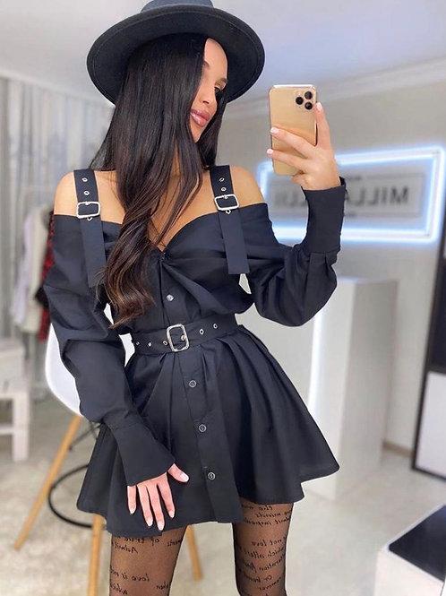 Omzu Dekolteli Kemerli Elbise