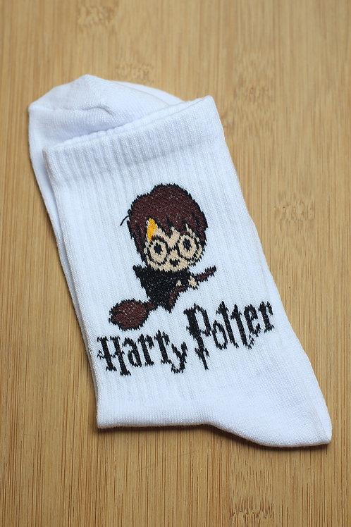 Unisex Beyaz Harry Potter Tekli Spor Çorap C112