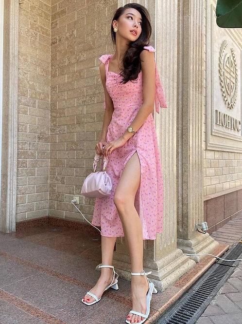 Omuzdan Bağlamalı Yırtmaçlı Elbise