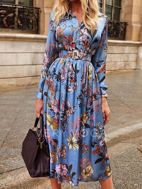 Dijital Baskılı Kemerli Elbise