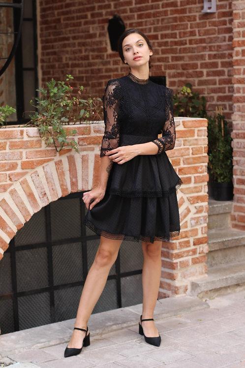Güpür Detay Kat Kat Elbise - 113