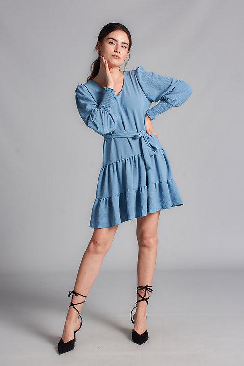 Kadın Mavi Kol Gipeli Mini Elbise - 129 S
