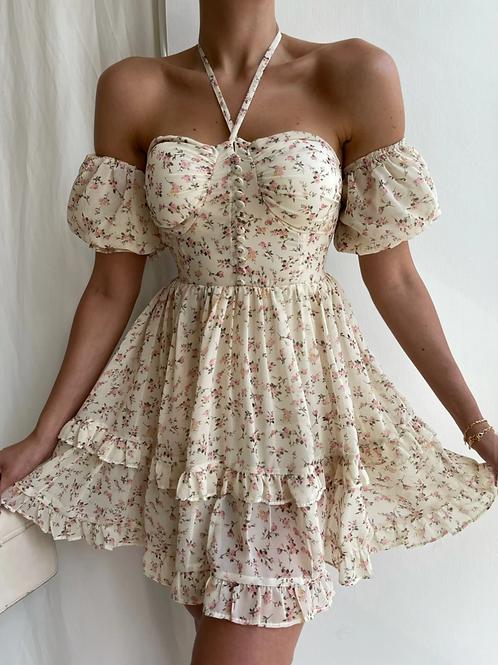 Düğme Detaylı Şifon Tatum Elbise