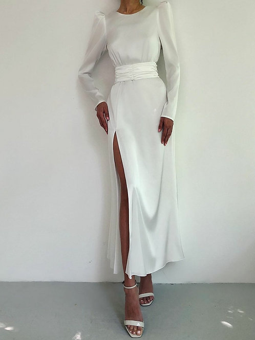 Saten Yırtmaçlı Elbise