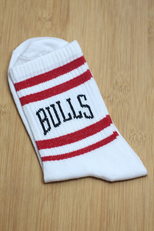 Unisex Beyaz Çizgili Chicago Bulls Spor Çorap C118