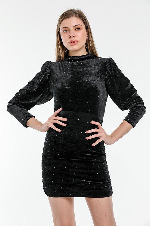 Sırt Dekolteli Taşlı Kadife Elbise
