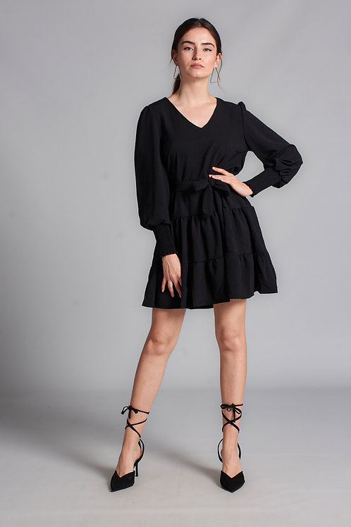 Kadın Siyah Kol Gipeli Mini Elbise - 129 S