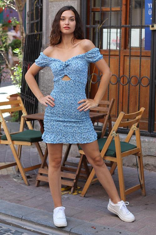 Mavi Gipeli Bel Dekolte Straplez Kol Mini Elbise 111