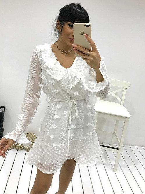 Gül Desen Tasarım Tül  Elbise - 0067