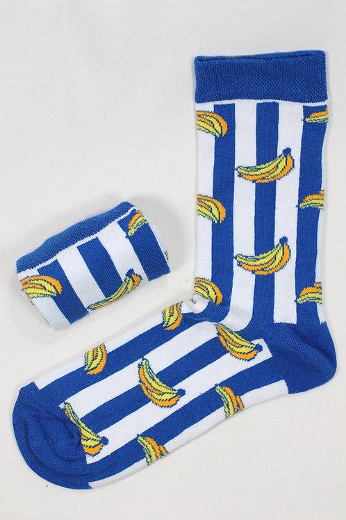 """Unisex Beyaz Mavi Şeritli """"banana"""" Spor Çorap 2007"""