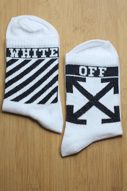 Unisex Beyaz White X Off Spor Çorap C113