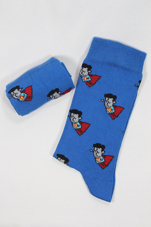 Unisex Mavi Superman Çorap C127