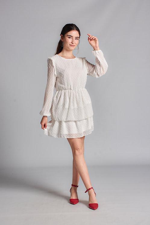 Kadın Beyaz Balon Kol Kat Kat Tül Mini Elbise - 109