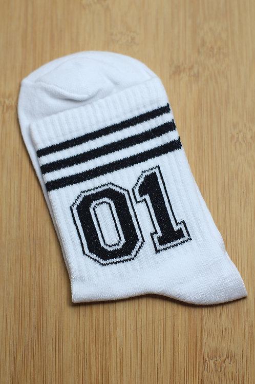Unisex Beyaz 01 Number One Spor Çorap C114