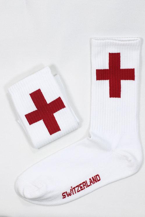 Unisex Beyaz Switzerland Flag Spor Çorap C119