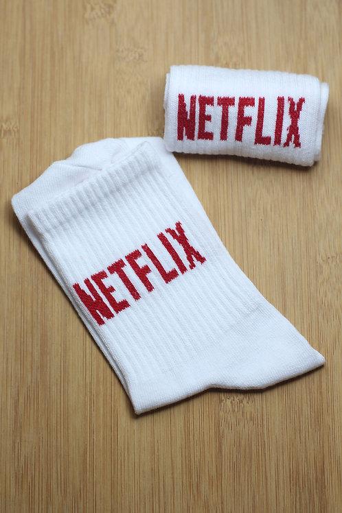 Unisex Beyaz Netflix Yazılı Tekli Spor Çorap C109