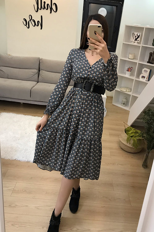 Çıtır Desen Midi Elbise - 0102