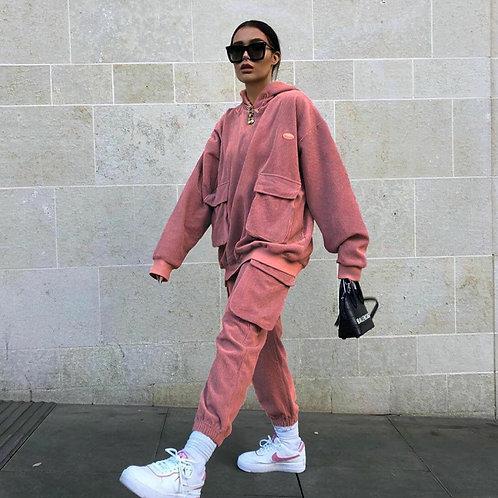 Fitilli Kadife Sweatshirt & Pantolon Takım
