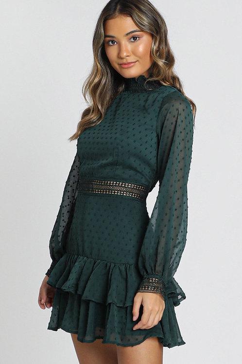 Güpür Dantel Detay Mini Gece Elbisesi