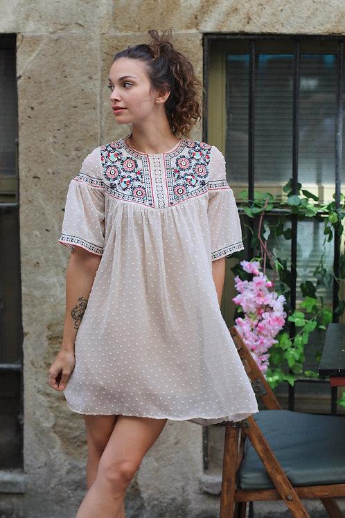 Yakası Çiçek İşlemeli Mini Elbise Hb0101