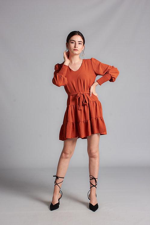 Kadın Turuncu Kol Gipeli Mini Elbise - 129 T
