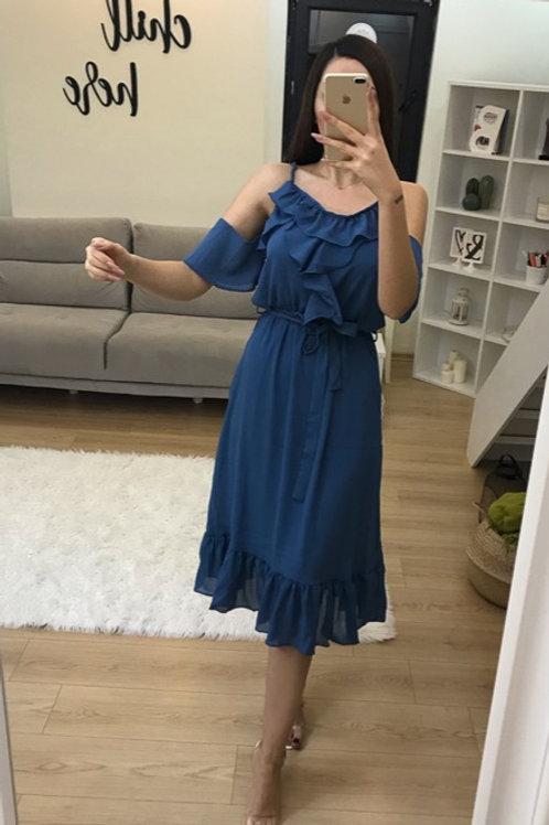 Yaka Volan Elbise - 0128
