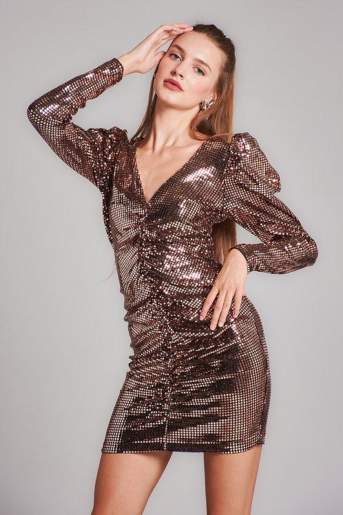 Kadın Bakır V Yaka Payetli Mini Elbise - 53