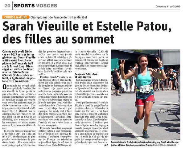 Sarah Vieuille championne de France Trail 2019