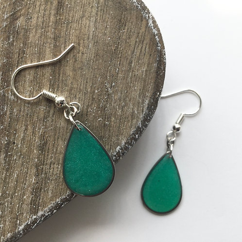Teal tear drop earrings