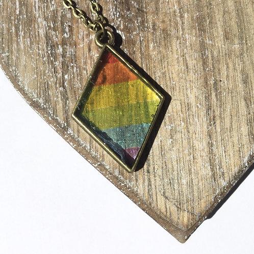 Diamond shaped rainbow pendant