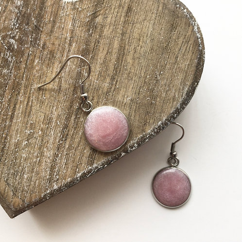Pale rose shimmer round drop earrings