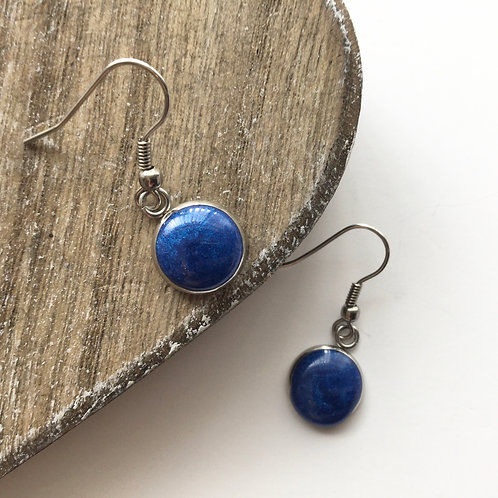 Light navy shimmer round drop earrings